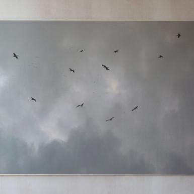 Nómadas Eólicos 2013 Impresión digital y pintura sobre papel de algodón 76 x 112 cm